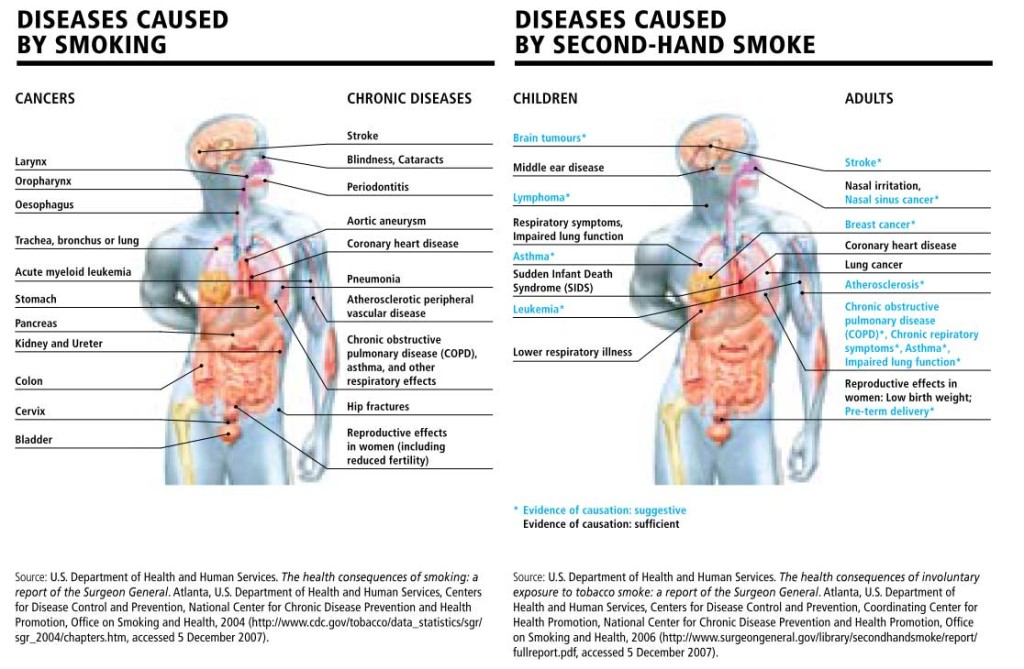 the effects of second hand smoking Secondhand smoke comes from the smoke that smokers exhale and the smoke floating from the end of the cigarette, cigar, or pipe what are the dangers of secondhand smoke secondhand smoke contains thousands of chemicals — from arsenic to ammonia — that are toxic to the body.